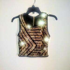 ANGL SPARKLY TANK TOP.SIZE MEDIUM.COLOR GOLD